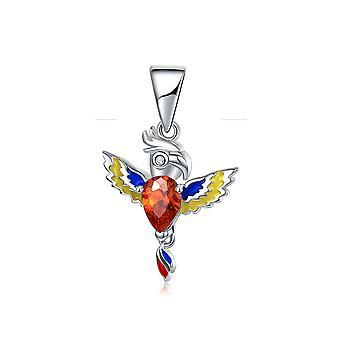 Charm Bead papegoja i 925, röd kristall och emalj
