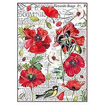Stamperia Rice Paper A4 Botanic Poppy