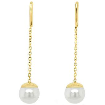 Mark Milton Pearl and Chain Drop Earrings - Yellow Gold