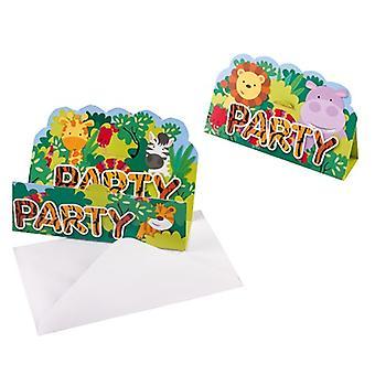 Animais da selva festa cartões de convite 8 pedaço Safari aventura infantil dia do casamento