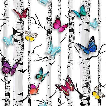 Colourful Butterfly Wallpaper Butterflies Trees Branch Birch Garden Feature