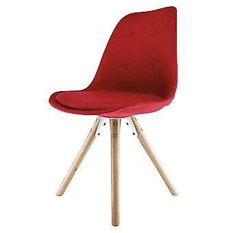 Fusion Living Eiffel Inspired Red Fabric Dining Chair With Pyramid Light Wood Legs
