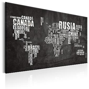 Canvas Print - World Map: Mundo Negro
