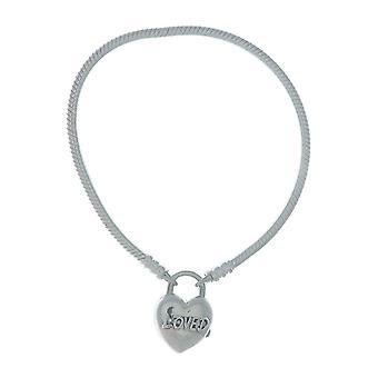 PANDORA Moments glatt Silber Vorhängeschloss Armband - du bist geliebt Herz 925 Sterlingsilber - 18cm