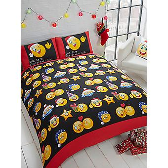 Emoji Icons Christmas Duvet Cover and Pillowcase Set