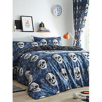 Cubierta de edredón de cráneos de píxeles y juego de funda de almohada