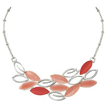 Ewige Sammlung Oase Coral Pink Multi Emaille Silberfarbe Statement-Kette
