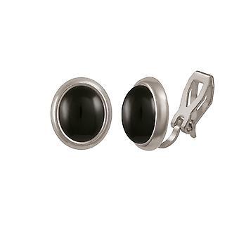 Eternal Collection Minuet musta Onyx Silver Tone Stud Clip korva korut