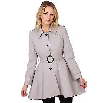 KRISP  Women Tailored Asymmetric Belted A Line Military Trench Coat Mac Jacket Outdoor