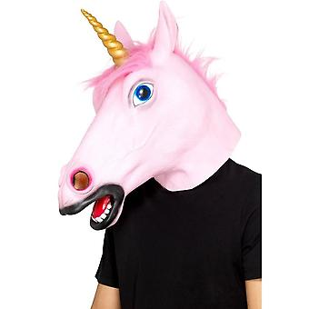 Unicorn Latex Mask Pink Full Overhead, Party Animals Fancy Dress, One Size