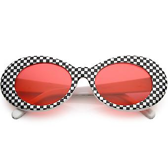 Large Retro Checkered Oval Sunglasses Thick Frame Colored Lens Wide Arms 53mm