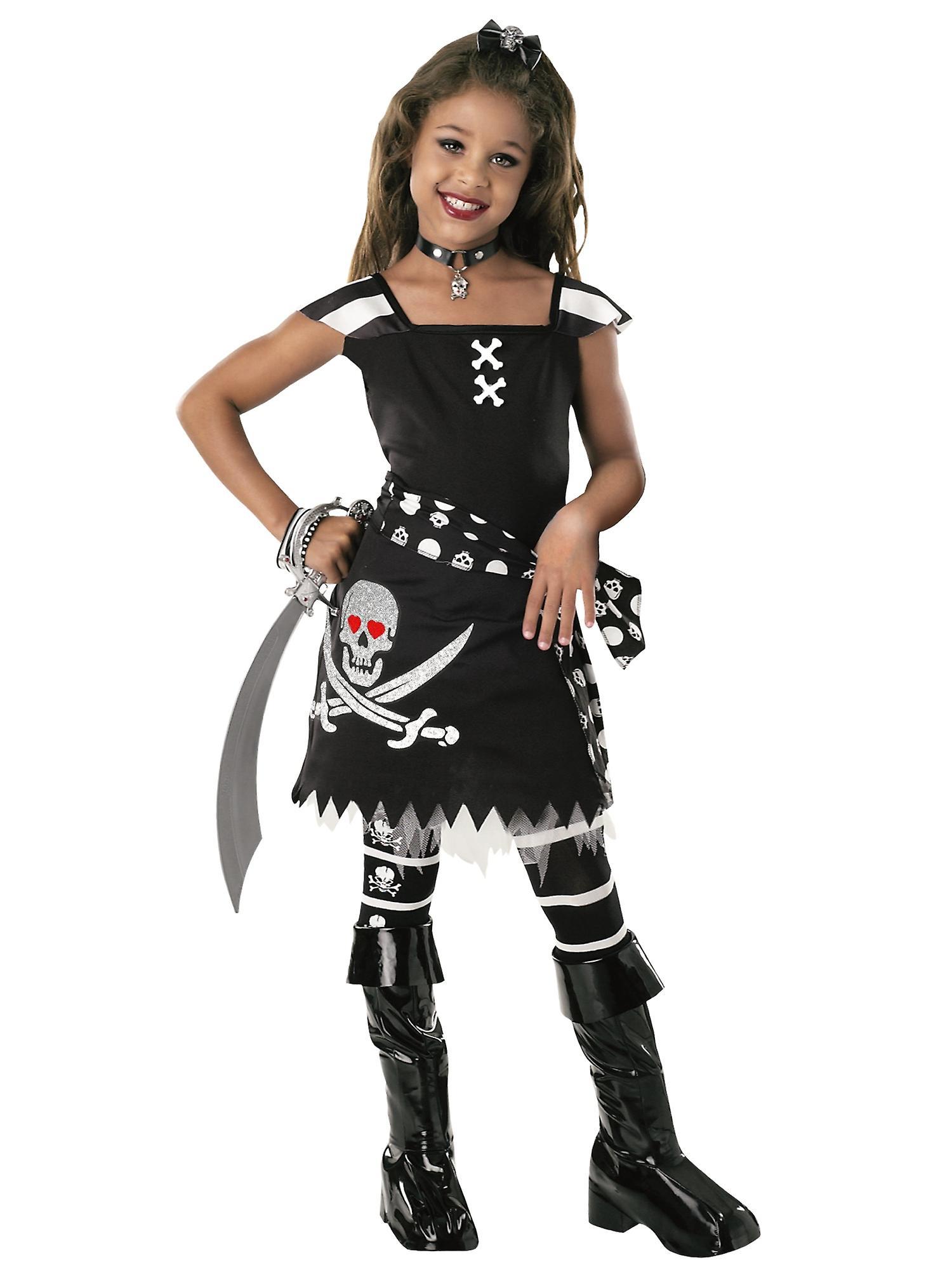 Scar-let Ghostship Skeleton Skull Pirate Caribbean Book Week Girls Costume