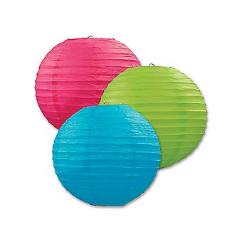 Paper Lanterns (Pack Of 3) - Blue, Green & Pink