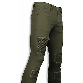 Biker Jeans - Slim Fit Biker Jeans - Groen