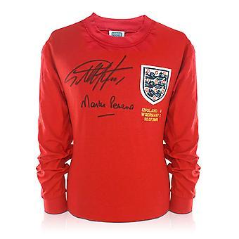 Geoff Hurst ja Martin Peters allekirjoitti Englannin 1966 jalka pallo-paidasta