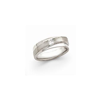 14k oro bianco diamante anello Mens -.21 dwt