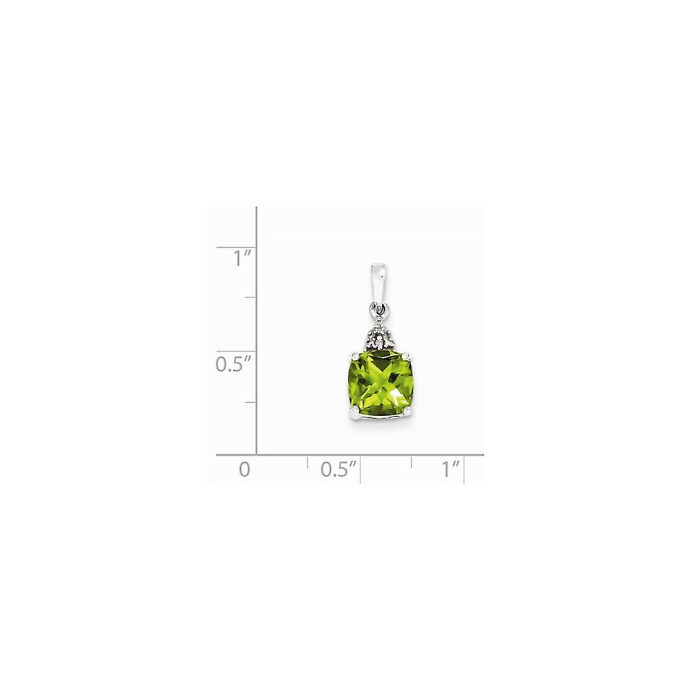 925 Sterling Silver Polished Prong set Open back Rhodium Peridot and Diamond Pendant Necklace Jewelry Gifts for Women