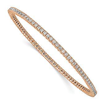 925 Sterling Silver Slip på polerad prong set rosa pläterad med CZ Cubic Zirconia simulerad diamantmanschett stapelbar bangl