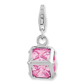 925 Sterling Argento Rhodium placcato Fantasia Aragosta Chiusura Rhodium Plated 3 d Rosa C'cubica zirconia Simulato Diamante Wit