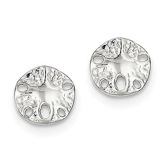 925 Sterling Silver Solid Polished Post Earrings Sand Dollar Mini for boys or girls Earrings