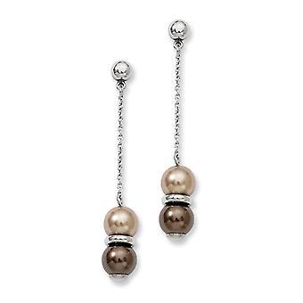 Edelstahl poliert braun und Champagner Perlen Post lange Tropfen Ohrringe Maßnahmen 50x9mm breite Schmuck Geschenke für