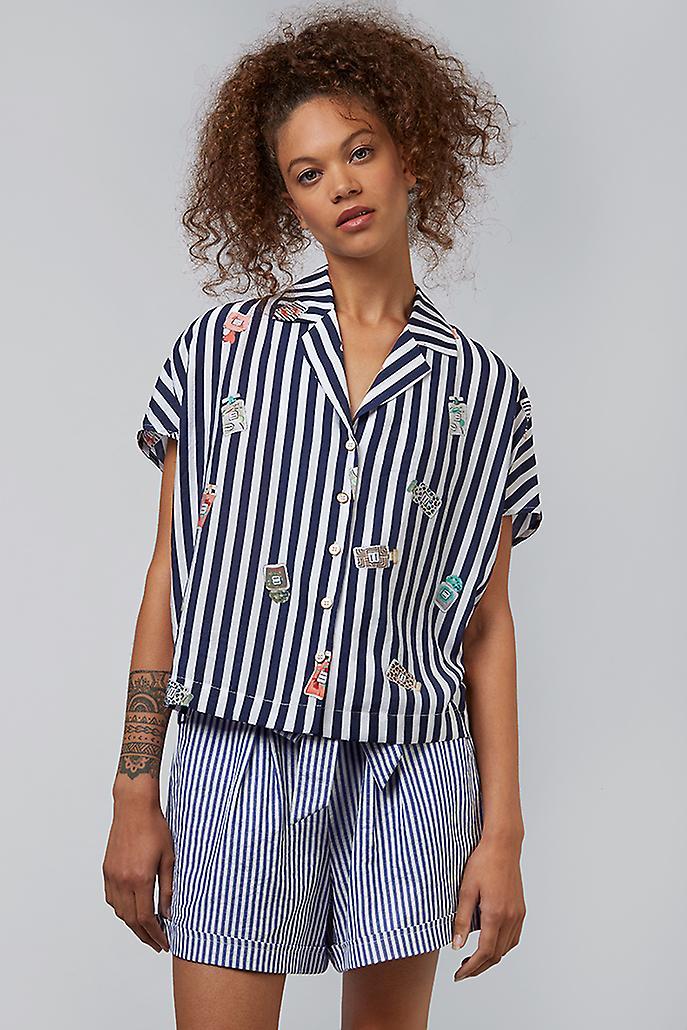 Louche Lucienne Perfume Print Revere Collar Shirt