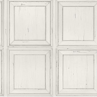 Wood Panel Effect Wallpaper Weathered Rustic Distressed Grain Off White Rasch
