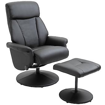 HOMCOM Executive Recliner Chair high back Leather Seat with Footrest Stool Black