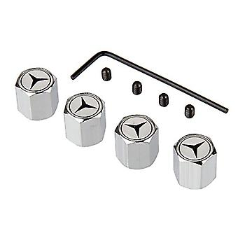 Set of 4 Chrome Anti-Theft Car Tyre Air Dust Valve Stem Cap For Mercedes