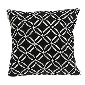 "20"" x 7"" x 20"" Transitional Black Pillow Cover With Down Insert"