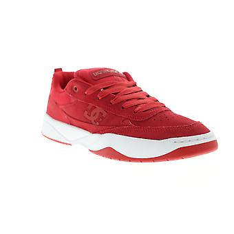 DC Penza  Mens Red Suede Lace Up Athletic Skate Shoes