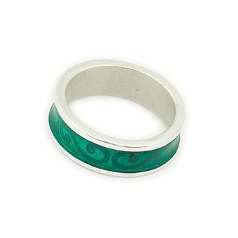 Sterling sølv tradisjonell Scottish bare stilig Celeste emalje håndlaget design ring