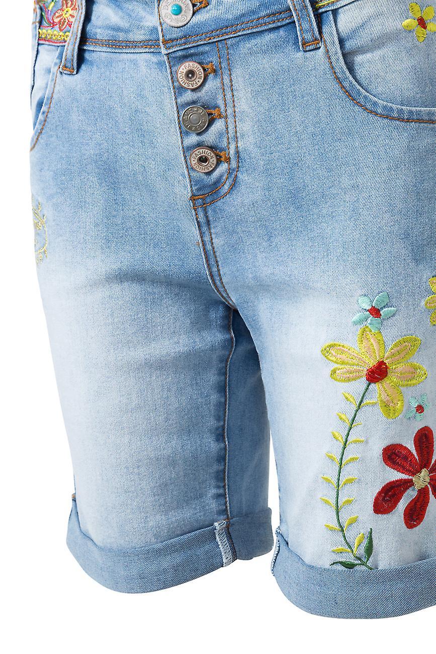 Desigual Women-apos;s Habana Flores Flower Embroided Denim Shorts 46Bovq