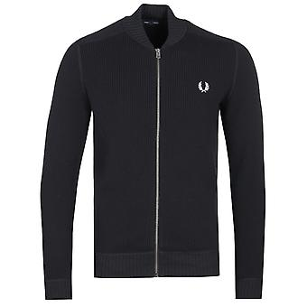 Fred Perry Waffle tekstureret zip-through sort cardigan