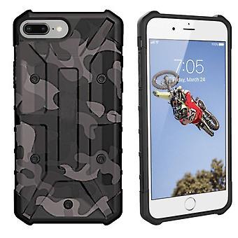 iPhone 8 Plus - 7 Plus - 6 Plus Hoesje Transparant Zwart - Shockproof Army