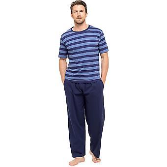 Férfi póló csíkos felső & hosszú nadrág pizsama Lounge Wear - Blue-Navy - L