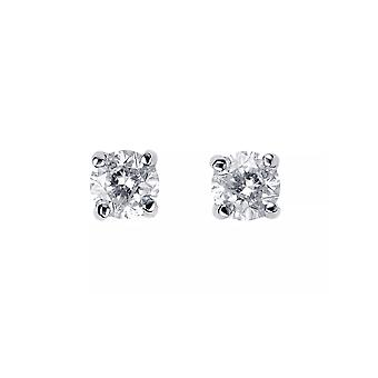 Eternity 9ct White Gold 4 Griffe 0.10 Carat Solitaire Diamond Stud Earrings (Certificated)