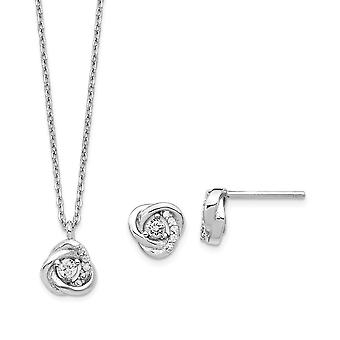 925 Sterling Silver Rhodium platedCZ Cubic Zirconia Simulated Diamond Love Knot Earrings and 2inch Ext. Necklace Set Jew