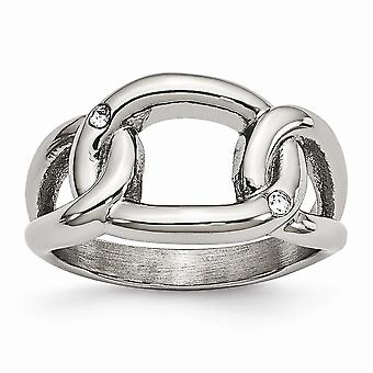 Stainless Steel Polished Crystal Ring  Jewelry Gifts for Women - Ring Size: 6 to 9