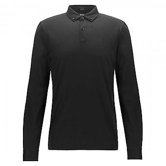 Hugo Boss Paver 12 Black 001 Long Sleeved Polo 50413037