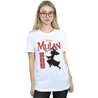 Disney Women's Mulan Movie Warrior Silhouette Boyfriend Fit T-Shirt
