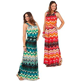 Pistachio Women's Tribal Print Bright Summer Maxi Dress