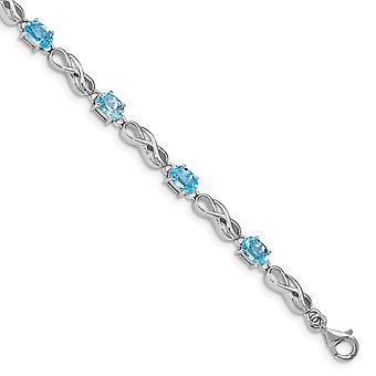 925 Sterling Silver Leštené Fancy Homár uzavretie Modrá Topaz Obrázok 8 Náramok Šperky Darčeky pre ženy