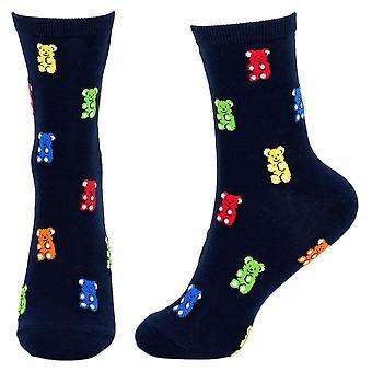 Women's Jelly Bear Design Novelty Crew Socks