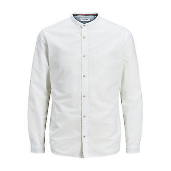Chemise de collier de grand-père de bande d'été de Jack et Jones - blanc