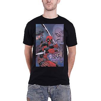 Deadpool تي قميص Deadpool الشعار المركب الجديد الأعجوبة الرسمية الرجال الأسود
