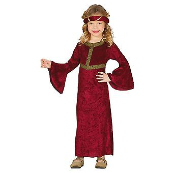 Girls Red Medieval Lady Fancy Dress Costume