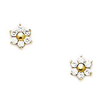 14k Yellow Gold CZ Cubic Zirconia Simulated Diamond Medium Flower Shape Screw back Earrings Measures 6x5mm Jewelry Gifts