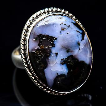 Large Gabbro Ring Size 7.5 (925 Sterling Silver)  - Handmade Boho Vintage Jewelry RING3461
