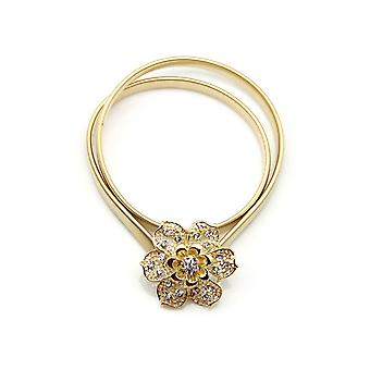 Gold Skinny Thin Stretchy Belt with Diamante Flower Buckle Spring Waist Belt